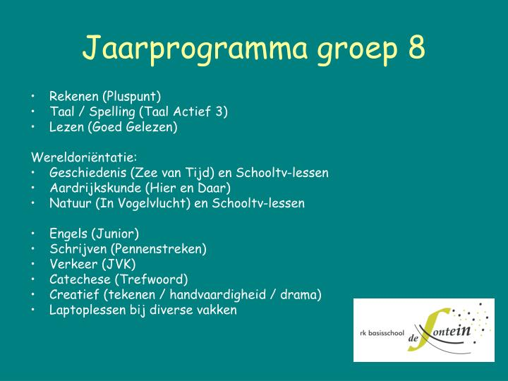 Jaarprogramma groep 8
