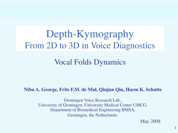 depth kymography from 2d to 3d in voice diagnostics