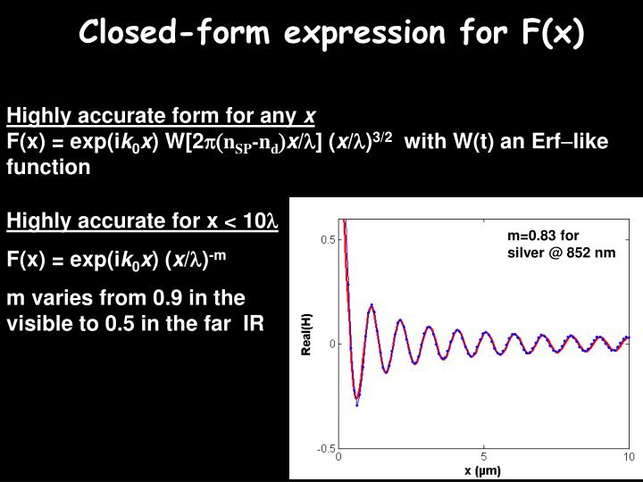 Closed-form expression for F(x)