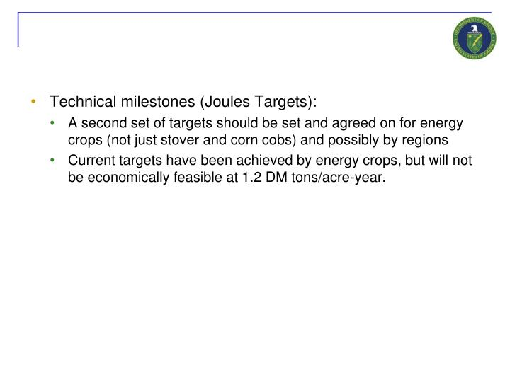 Technical milestones (Joules Targets):