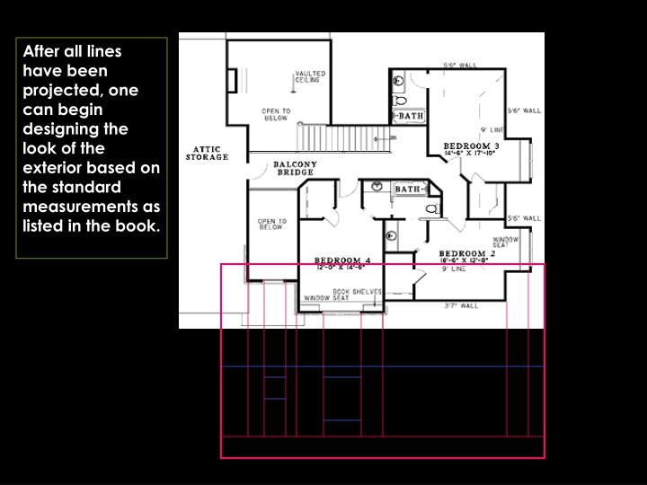 After all lines have been projected, one can begin designing the look of the exterior based on the standard measurements as listed in the book.