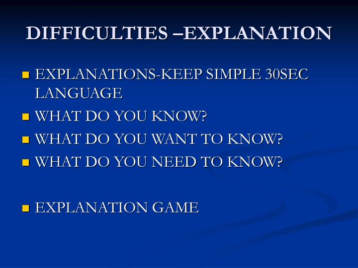DIFFICULTIES –EXPLANATION