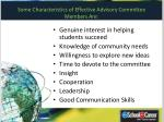 some characteristics of effective advisory committee members are