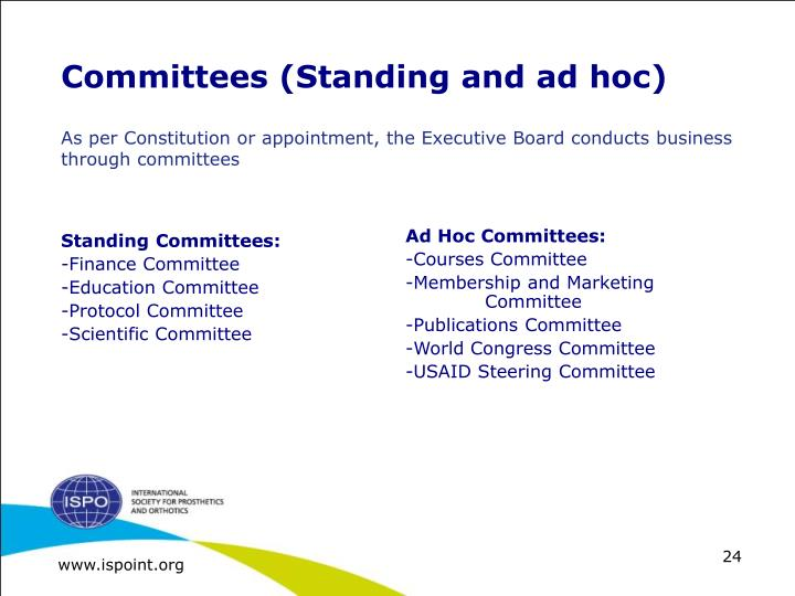 Committees (Standing and ad hoc)
