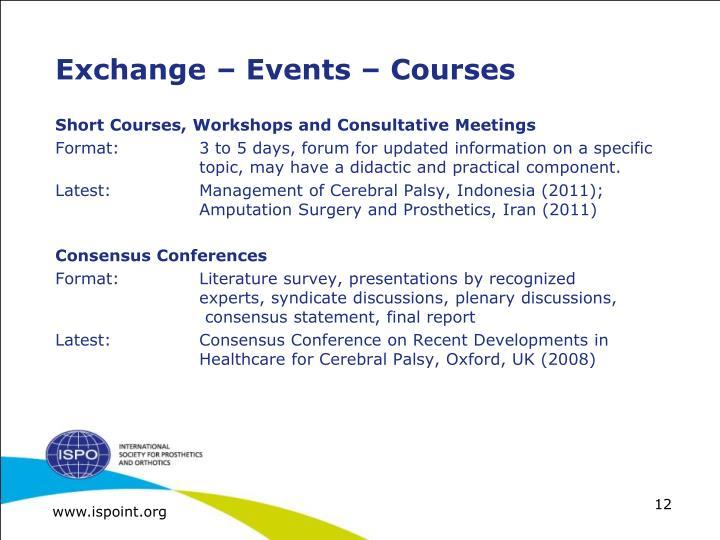 Exchange – Events – Courses
