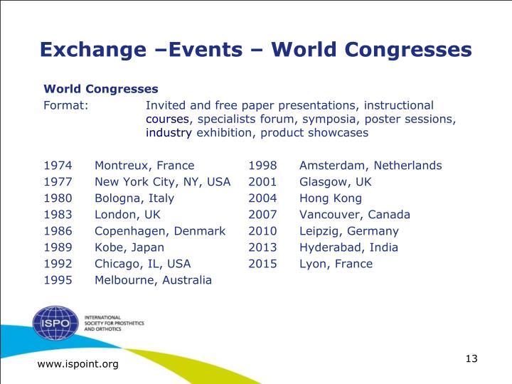 Exchange –Events – World Congresses