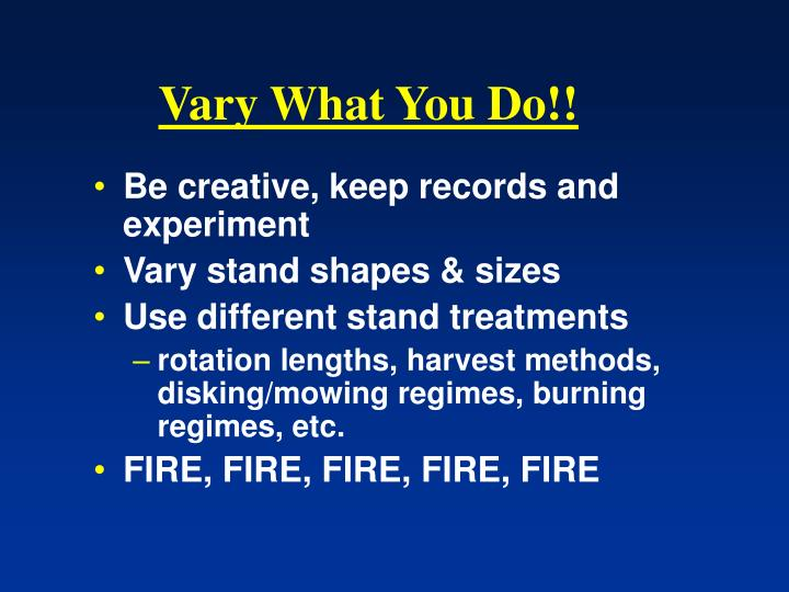 Vary What You Do!!