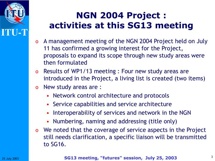 Ngn 2004 project activities at this sg13 meeting
