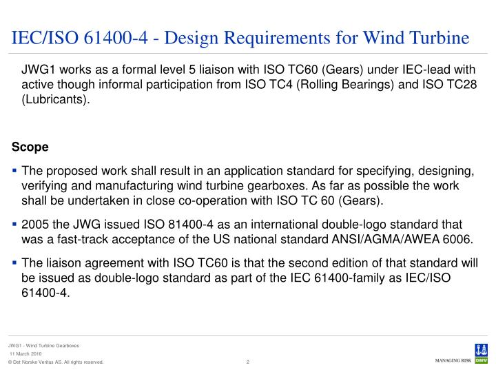 Iec iso 61400 4 design requirements for wind turbine