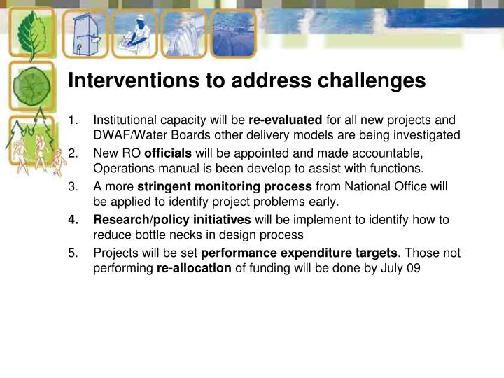 Interventions to address challenges