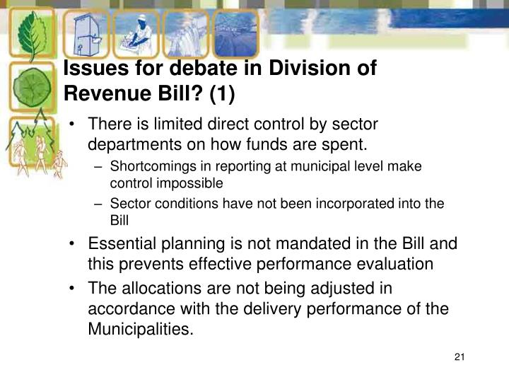 Issues for debate in Division of Revenue Bill? (1)