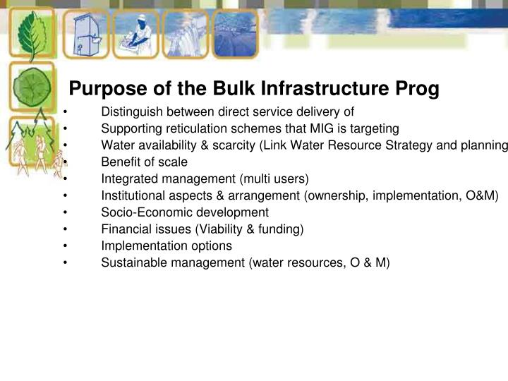Purpose of the Bulk Infrastructure Prog