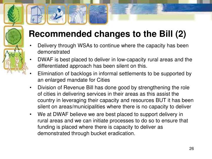 Recommended changes to the Bill (2)