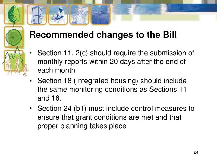 Recommended changes to the Bill