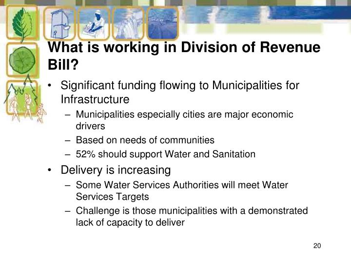 What is working in Division of Revenue Bill?
