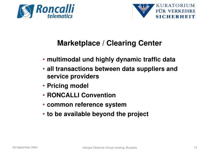 Marketplace / Clearing Center