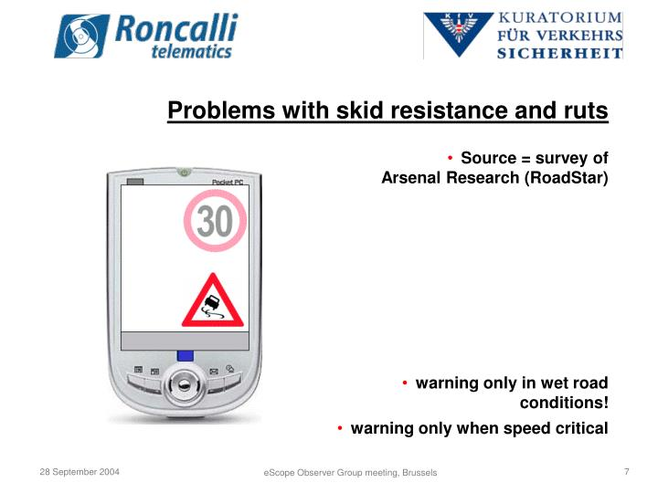 Problems with skid resistance and ruts