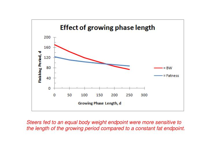 Steers fed to an equal body weight endpoint were more sensitive to the length of the growing period compared to a constant fat endpoint.