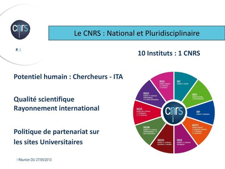 Le CNRS : National et Pluridisciplinaire