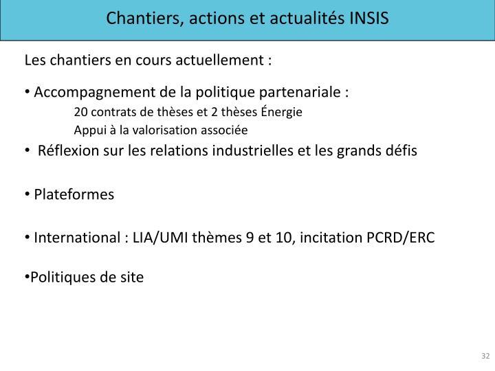 Chantiers, actions et actualités INSIS
