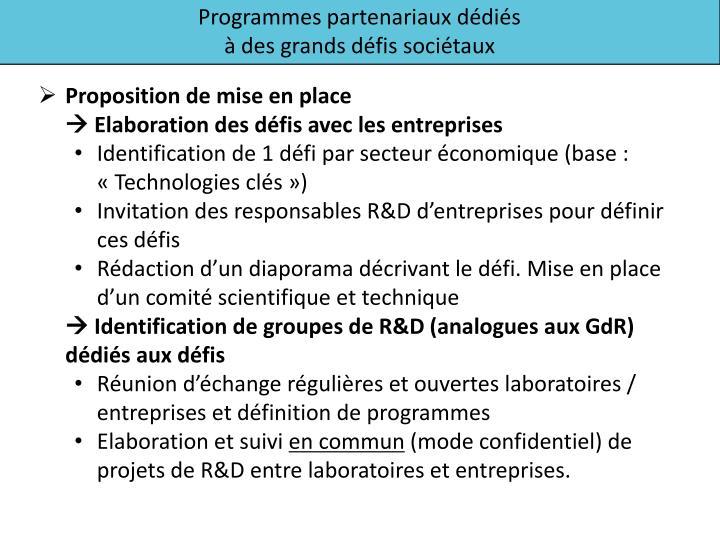 Programmes partenariaux dédiés