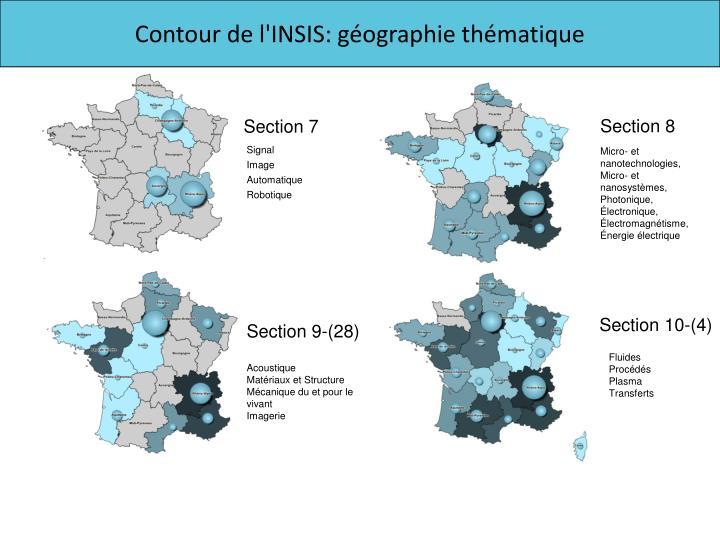 Contour de l'INSIS: géographie thématique