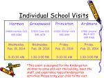 individual school visits