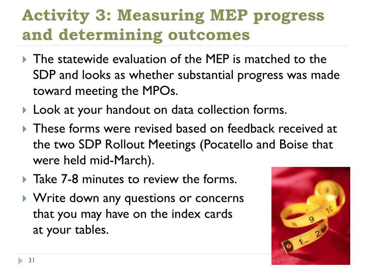 Activity 3: Measuring MEP progress and determining outcomes