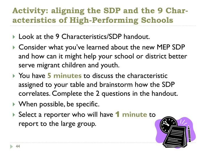 Activity: aligning the SDP and the 9 Char-