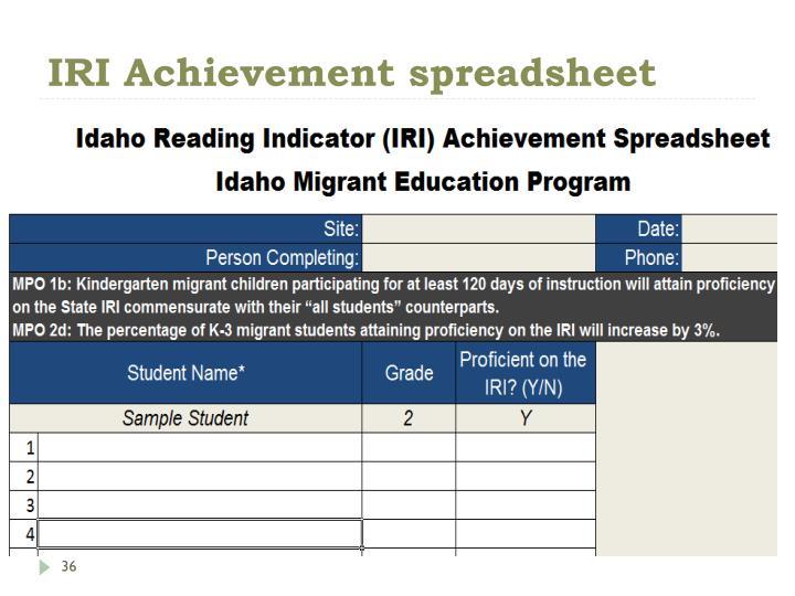 IRI Achievement spreadsheet