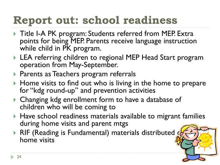 Report out: school readiness