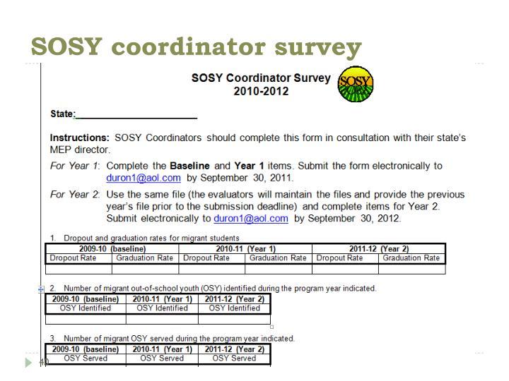 SOSY coordinator survey
