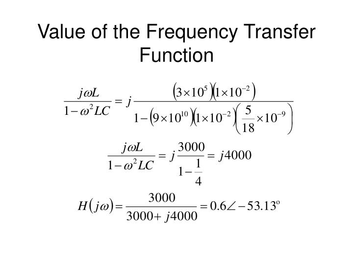 Value of the Frequency Transfer Function
