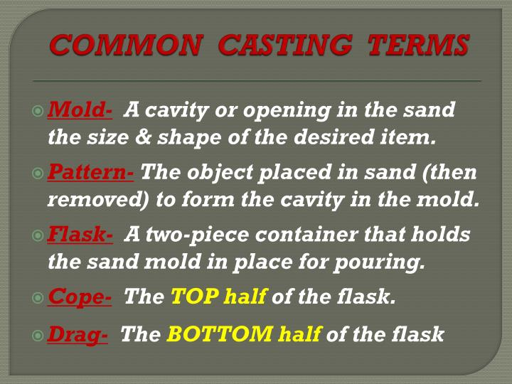 Common casting terms