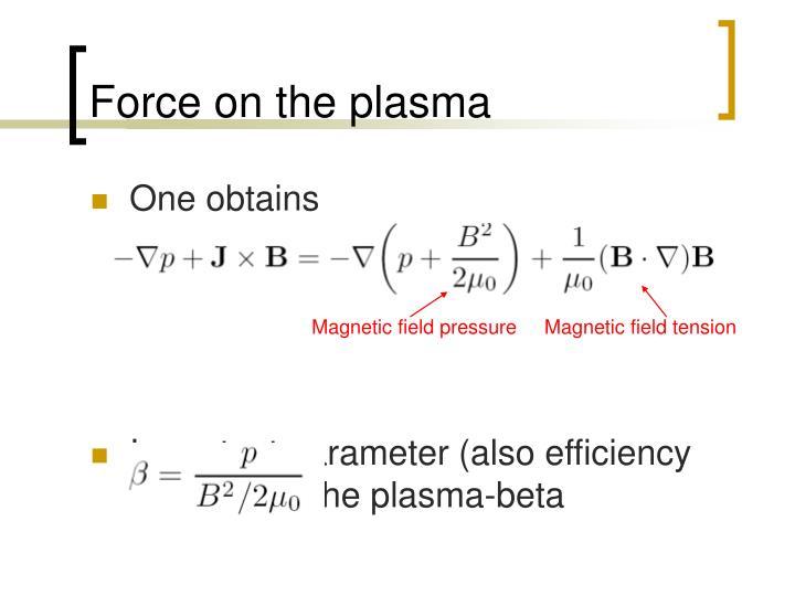 Force on the plasma