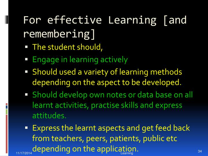 For effective Learning [
