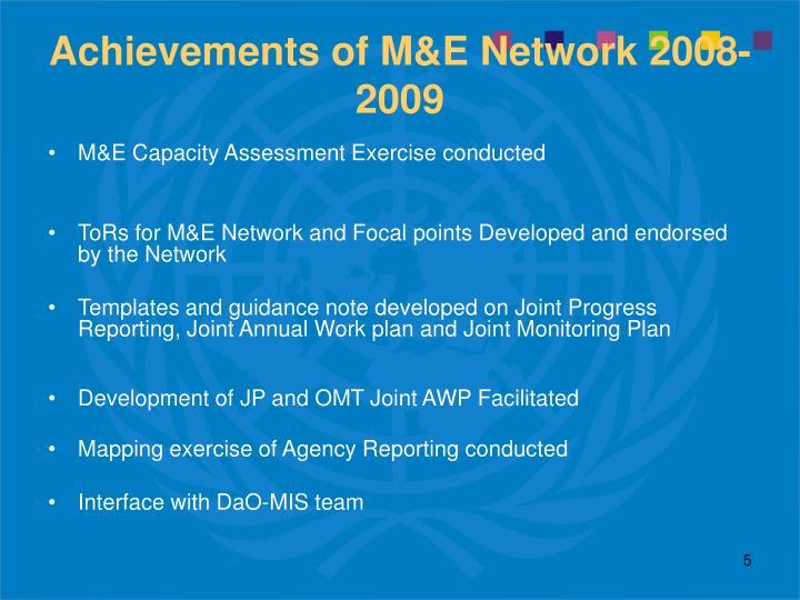 Achievements of M&E Network 2008-2009