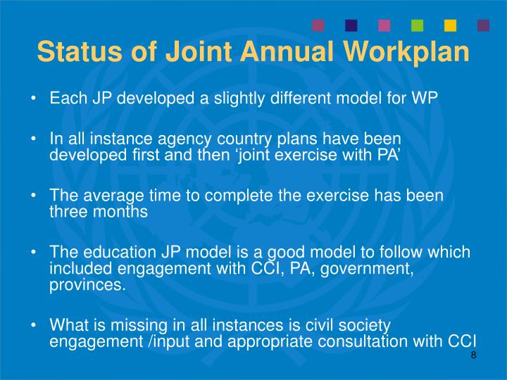Status of Joint Annual Workplan