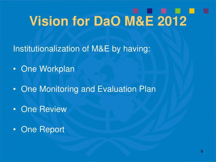 Vision for DaO M&E 2012
