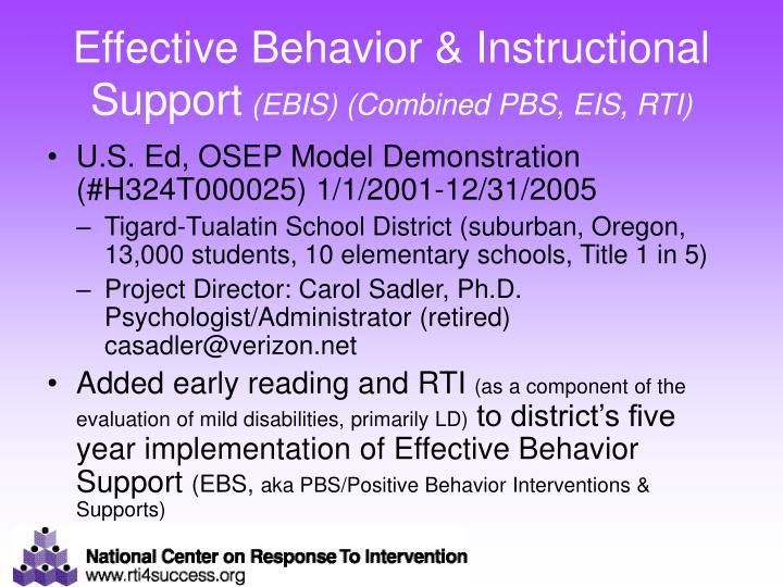 Effective Behavior & Instructional Support