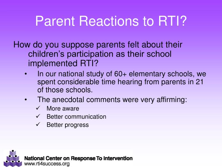 Parent Reactions to RTI?