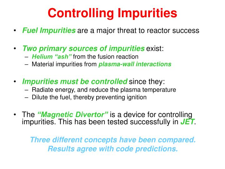 Controlling Impurities