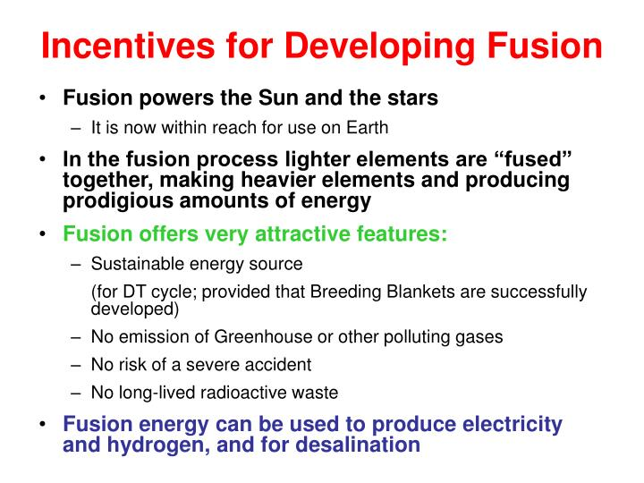 Incentives for Developing Fusion