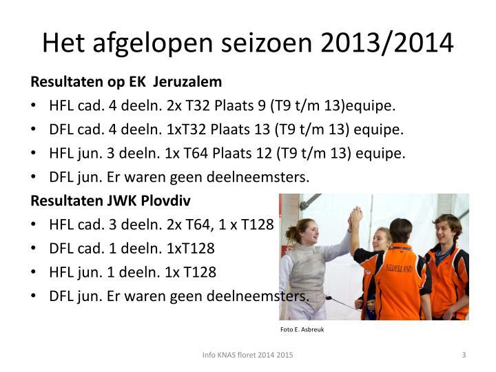 Het afgelopen seizoen 2013 2014