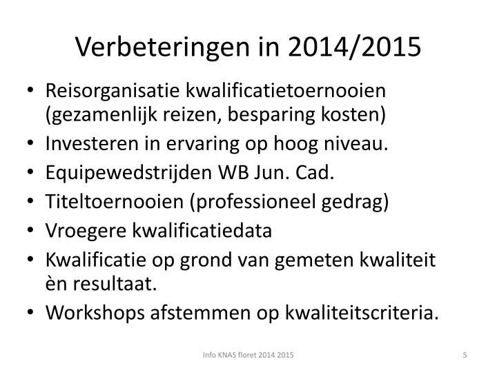 Verbeteringen in 2014/2015