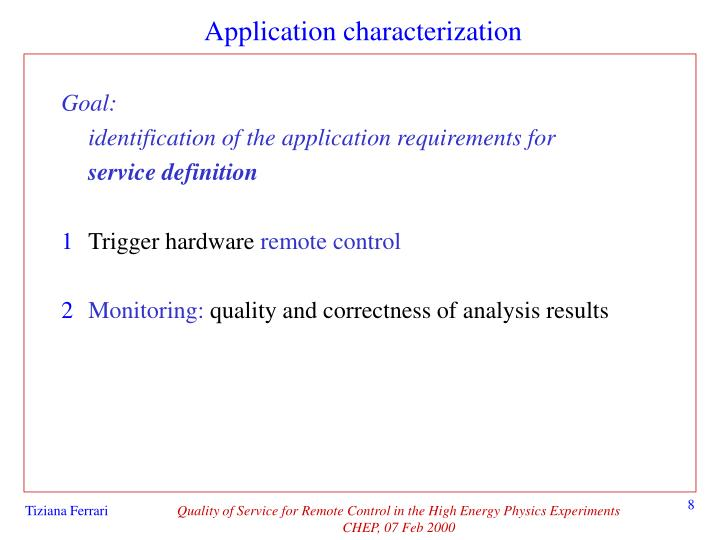Application characterization