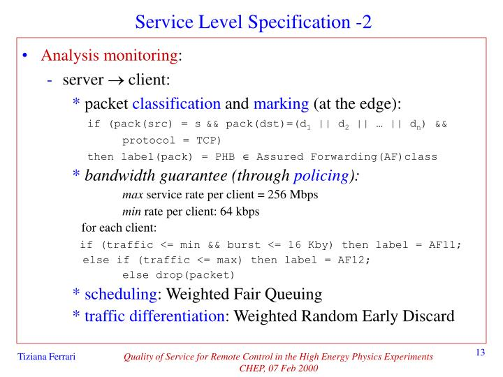Service Level Specification -2