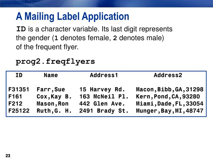 A Mailing Label Application