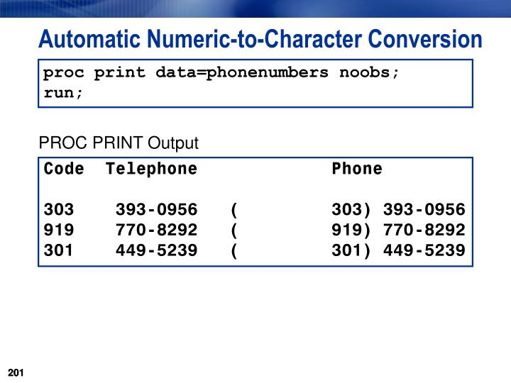 Automatic Numeric-to-Character Conversion
