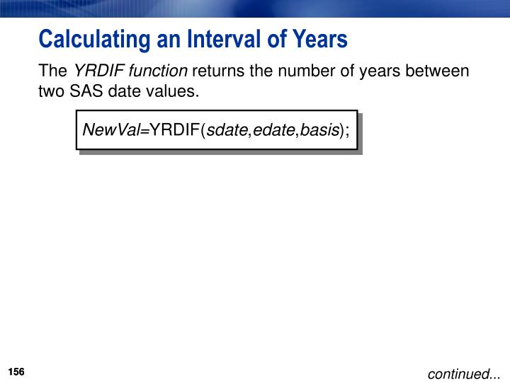 Calculating an Interval of Years
